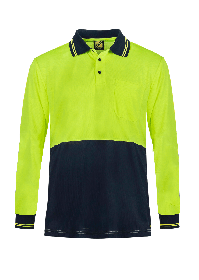 Hi Vis Light Weight Long Sleeve Micromesh Polo with Pocket