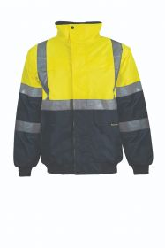 Hi Vis Two Tone Waterproof Modern Bomber Jacket