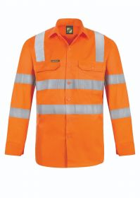 Lightweight Hi Vis Vented Cotton Drill Shirt With Semi Gusset
