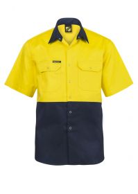 Hi Vis Two Tone Short Sleeve Cotton Drill Shirt With Press Studs