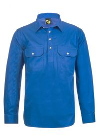 Lightweight Long Sleeve Half Placket Cotton Drill Shirt