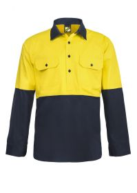 Lightweight Hi Vis Two Tone Half Placket Vented Cotton Drill
