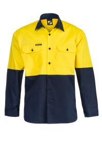 Lightweight Hi Vis Two Tone Long Sleeve Vented Cotton Drill Shirt - WS4247