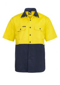 Hi Vis Two Tone Short Sleeve Cotton Drill Shirt