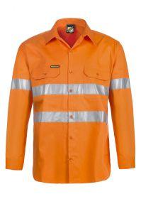 Lightweight Hi Vis Long Sleeve Vented Cotton Drill Shirt With csr Reflective Tape