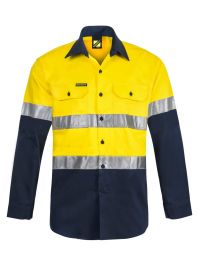Lightweight Hi Vis Two Tone Long Sleeve Vented Cotton Drill Shirt with Csr Reflective Tape