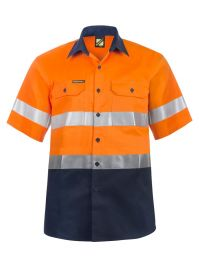 Hi Vis Two Tone Short Sleeve Cotton Drill Shirt With Csr Reflective Tape