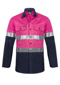 Lightweight Two Tone Long Sleeve Vented Cotton Drill Shirt with Csr Reflective Tape - Night Use Only