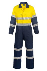 Hi Vis Two Tone Cotton Drill Coveralls With Industrial laundry Reflective Tape-WC3056