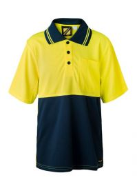 Kids Two Tone Short Sleeve Micromesh Polo With Pocket