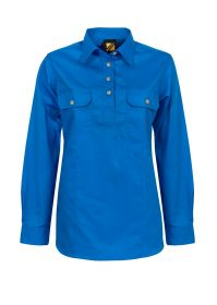 Ladies Lightweight Long Sleeve Half Placket Cotton Drill Shirt