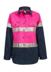 Ladies Lightweight Hi Vis Two Tone Long Sleeve Vented Cotton Drill shirt With Csr Reflective Tape - Night Use Only
