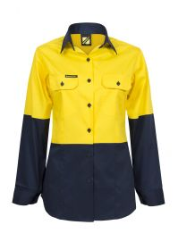 Ladies Lightweight Hi Vis Two Tone Long Sleeve Vented Cotton Drill Shirt
