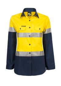 Ladies Lightweight Hi Vis Two Tone Long Sleeve Vented Cotton Drill shirt With Csr Reflective Tape