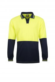 Hi Vis Two Tone Food Industry Long Sleeve Micromesh Polo with No Pocket Or Buttons