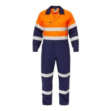 Hi Vis Two Tone Cotton Drill Coveralls with Industrial Laundry Reflective Tape