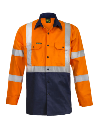 Hi Vis Two Tone Front Long Sleeve Cotton Drill Shirt with X Pattern Csr Reflective Tape