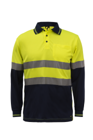 Hi Vis Two Tone Long Sleeve Micromesh Polo With Pocket