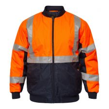 Tempest Hi Vis Bomber Jacket With X - Pattern Tape
