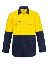 Hi Vis Two Tone Long Sleeve Cotton Drill Shirt With Press Studs