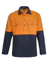 Heavy Duty Hybrid Two Tone Half Placket Cotton Drill Shirt