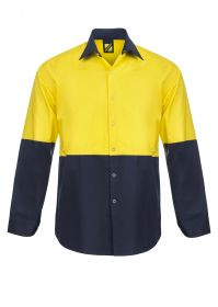Lightweight Hi Vis Two Tone Long Sleeve Vented Cotton Drill Food