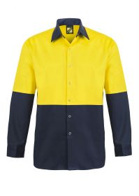 Hi Vis Two Tone Long Sleeve Cotton Drill Food Industry Shirt With press Studs And No Pockets