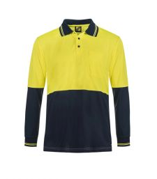 Hi Vis Two Tone Long Sleeve Cotton Back Polo With Pocket