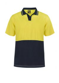 Hi Vis Two Tone Food Industry Short Sleeve Micromesh Polo with No Pocket Or Buttons