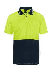 Hi Vis Two Tone Short Sleeve Micromesh Polo With Pocket