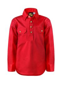 Kids Lightweight Long Sleeve Half Placket Cotton Drill Shirt With Contrast Buttons