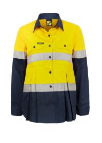 Maternity Lightweight Hi Vis Two Tone Long Sleeve Vented Cotton Drill shirt With Csr Reflective Tape