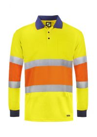 Hi Vis Traffic Controller Long Sleeve Micromesh Polo with Pocket And Csr Reflective Tape