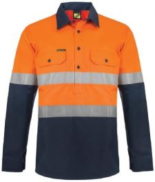 Heavy Duty Hybrid Two Tone Half Placket Cotton Drill Shirt with Gusset Sleeves And Csr Reflective Tape-ws6031