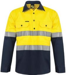 Hi Vis Two Tone Half Placket Cotton Drill Shirt