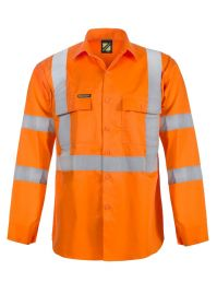 Hi Vis Long Sleeve Shirt With X Pattern And CSR Reflective Tape -Day/Night Use -WS3222- Orange